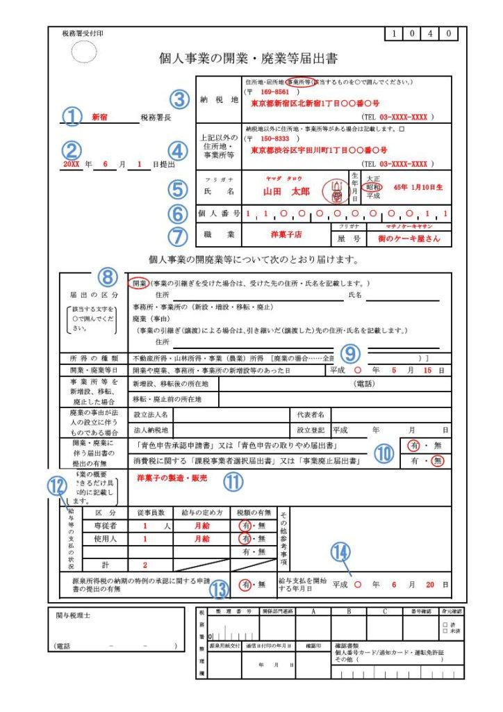 記載例・個人事業の開業・廃業届出書(個人番号付)